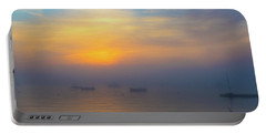 Gloucester Harbor Foggy Sunset Portable Battery Charger