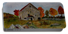 Portable Battery Charger featuring the painting Glover Barn In Autumn by Donna Walsh