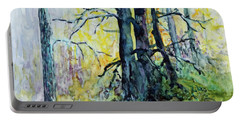 Portable Battery Charger featuring the painting Glow From The Tamarack by Joanne Smoley