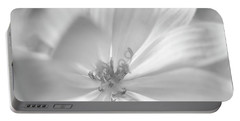 Glowing Flower, Black And White Portable Battery Charger
