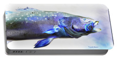 Portable Battery Charger featuring the painting Glowing Trout by Phyllis Beiser