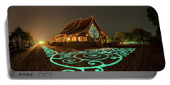 Portable Battery Charger featuring the photograph Glowing Wat Sirintorn Wararam Temple, Ubon by Pradeep Raja Prints