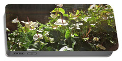 Glowing White Anthuriums Portable Battery Charger