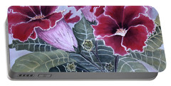 Portable Battery Charger featuring the painting Gloxinias by Karen Zuk Rosenblatt