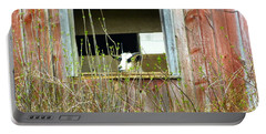 Goat In The Window Portable Battery Charger by Donald C Morgan