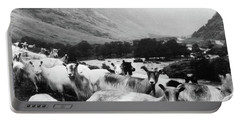 Portable Battery Charger featuring the mixed media Goats In Norway- By Linda Woods by Linda Woods