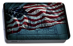 God Country Notre Dame American Flag Portable Battery Charger by John Stephens
