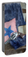 Portable Battery Charger featuring the photograph God, Guns And Old Glory by Benanne Stiens