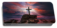 God Is My Rock Special Edition Fine Art Portable Battery Charger by Justin Kelefas