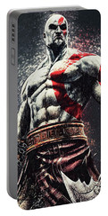Portable Battery Charger featuring the digital art God Of War - Kratos by Taylan Apukovska