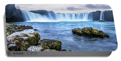 Godafoss Waterfall In Iceland Portable Battery Charger by Joe Belanger