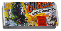 Godzilla King Of The Monsters An Enraged Monster Wipes Out An Entire City Vintage Movie Poster Portable Battery Charger