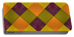 Portable Battery Charger featuring the painting Gold And Green With Orange 2.0 by Michelle Calkins