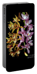 Portable Battery Charger featuring the photograph Gold And Red Orchid Display By Kaye Menner by Kaye Menner