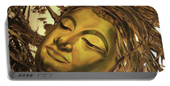 Gold Buddha Head Portable Battery Charger by Chonkhet Phanwichien