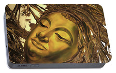 Portable Battery Charger featuring the painting Gold Buddha Head by Chonkhet Phanwichien