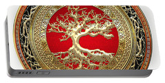 Gold Celtic Tree Of Life On White Leather  Portable Battery Charger