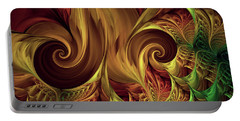 Portable Battery Charger featuring the digital art Gold Curl by Deborah Benoit