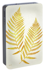 Portable Battery Charger featuring the mixed media Gold Fern Leaf Art by Christina Rollo