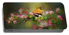 Gold Finch And Blossoms Portable Battery Charger