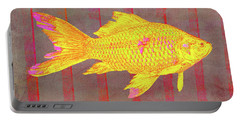 Gold Fish On Striped Background Portable Battery Charger