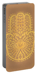 Gold Hamsa Hand On Brown Paper Portable Battery Charger