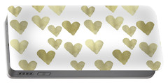 Gold Hearts Portable Battery Charger by P S