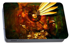 Portable Battery Charger featuring the painting  Gold Inkpot by Alexa Szlavics