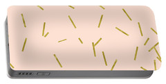 Gold Matchstick Confetti Print On Angel Pink Portable Battery Charger