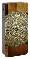 Gold Mayan-aztec Calendar On Brown Leather Portable Battery Charger