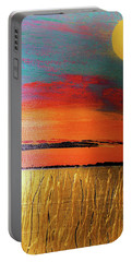 Gold Moon Reflection Portable Battery Charger by Carolyn Repka