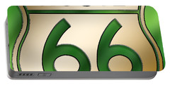 Portable Battery Charger featuring the digital art Gold Route 66 Sign by Chuck Staley
