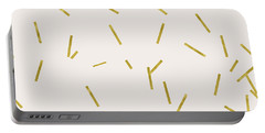 Gold Stick Confetti Print On Light Creme Portable Battery Charger