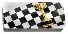Gold Trophy On A Checked Sport Flag Portable Battery Charger