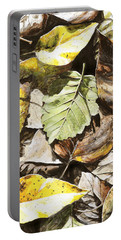 Portable Battery Charger featuring the painting Golden Autumn - Talkeetna Leaves by Karen Whitworth