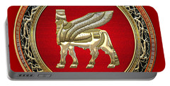 Golden Babylonian Winged Bull  Portable Battery Charger