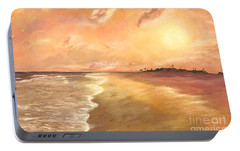 Portable Battery Charger featuring the painting Golden Beach by Vanessa Palomino