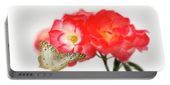 Golden Butterfly On Roses Portable Battery Charger
