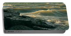 Golden Capped Sunset Waves Of Lake Michigan Portable Battery Charger