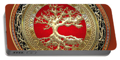 Golden Celtic Tree Of Life  Portable Battery Charger by Serge Averbukh