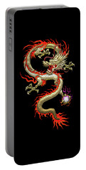 Golden Chinese Dragon Fucanglong On Black Silk Portable Battery Charger