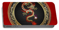 Golden Chinese Dragon Fucanglong On Red Leather  Portable Battery Charger by Serge Averbukh