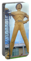 Portable Battery Charger featuring the photograph Golden Driller Tulsa Oklahoma by Janette Boyd