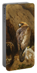 Golden Eagles At Their Eyrie Portable Battery Charger by Archibald Thorburn