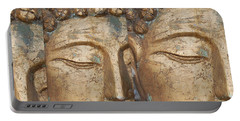 Portable Battery Charger featuring the photograph Golden Faces Of Buddha by Linda Prewer