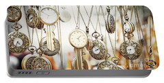 Golden Faces Of Time Portable Battery Charger