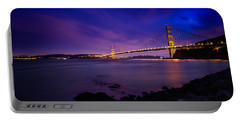 Golden Gate Bridge At Night Portable Battery Charger by Ian Good
