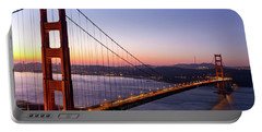 Golden Gate Bridge During Sunrise Portable Battery Charger