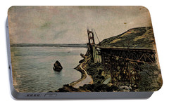Portable Battery Charger featuring the painting Golden Gate Bridge by Joan Reese