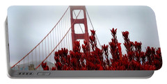 Golden Gate Bridge Red Flowers Portable Battery Charger
